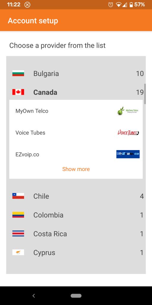 Zoiper - Selecting MyOwn Telco as the provider