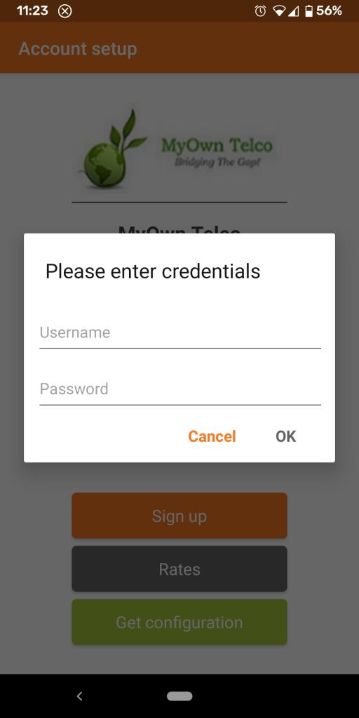 Zoiper - Providing credentials information